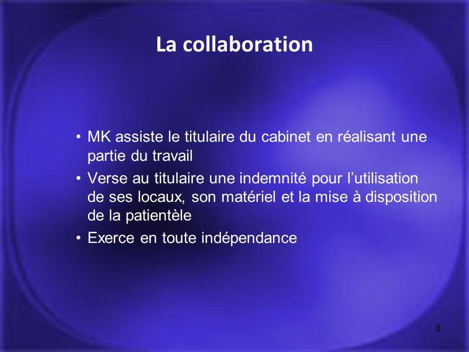 6 La collaboration MK assiste le titulaire du cabinet en réalisant une partie du travail Verse au titulaire une indemnité pour lutilisation de ses loc