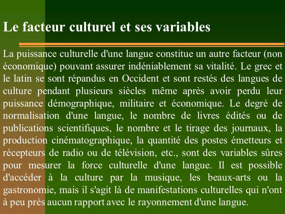 Le facteur culturel et ses variables La puissance culturelle d'une langue constitue un autre facteur (non économique) pouvant assurer indéniablement s
