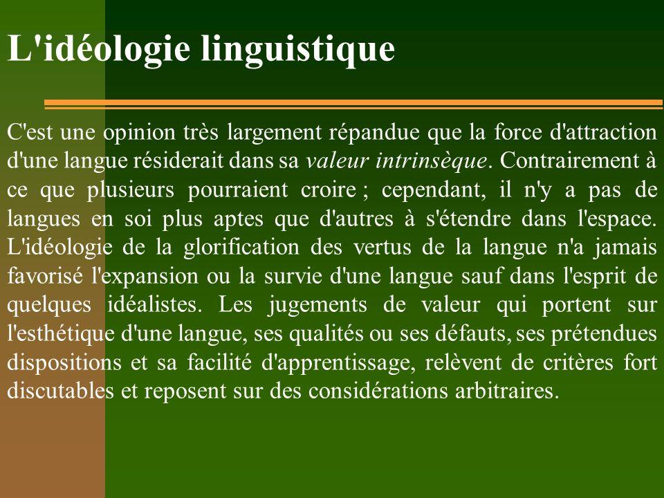 L'idéologie linguistique C'est une opinion très largement répandue que la force d'attraction d'une langue résiderait dans sa valeur intrinsèque. Contr