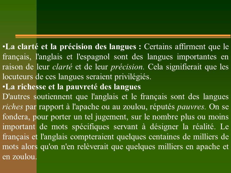 La clarté et la précision des langues : Certains affirment que le français, l anglais et l espagnol sont des langues importantes en raison de leur clarté et de leur précision.