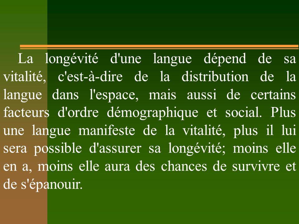 La longévité d une langue dépend de sa vitalité, c est-à-dire de la distribution de la langue dans l espace, mais aussi de certains facteurs d ordre démographique et social.