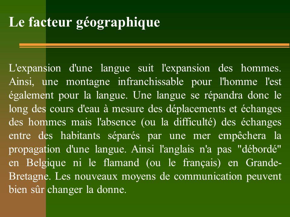 Le facteur géographique L'expansion d'une langue suit l'expansion des hommes. Ainsi, une montagne infranchissable pour l'homme l'est également pour la
