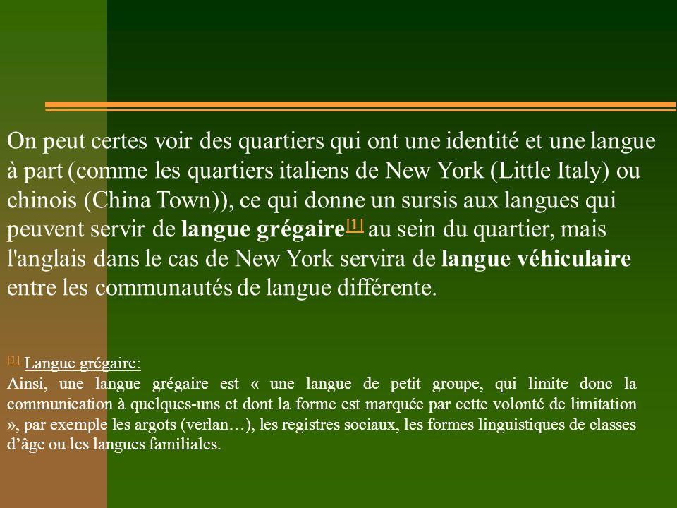 On peut certes voir des quartiers qui ont une identité et une langue à part (comme les quartiers italiens de New York (Little Italy) ou chinois (China