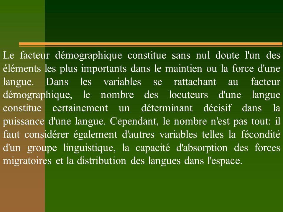 Le facteur démographique constitue sans nul doute l'un des éléments les plus importants dans le maintien ou la force d'une langue. Dans les variables