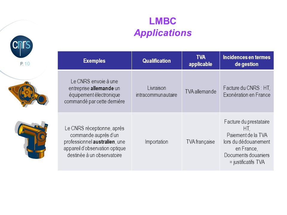 P. 10 LMBC Applications ExemplesQualification TVA applicable Incidences en termes de gestion Le CNRS envoie à une entreprise allemande un équipement é
