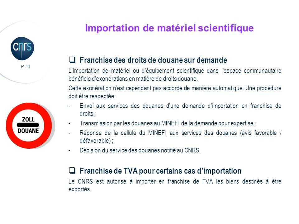 P. 11 Importation de matériel scientifique Franchise des droits de douane sur demande Limportation de matériel ou déquipement scientifique dans lespac
