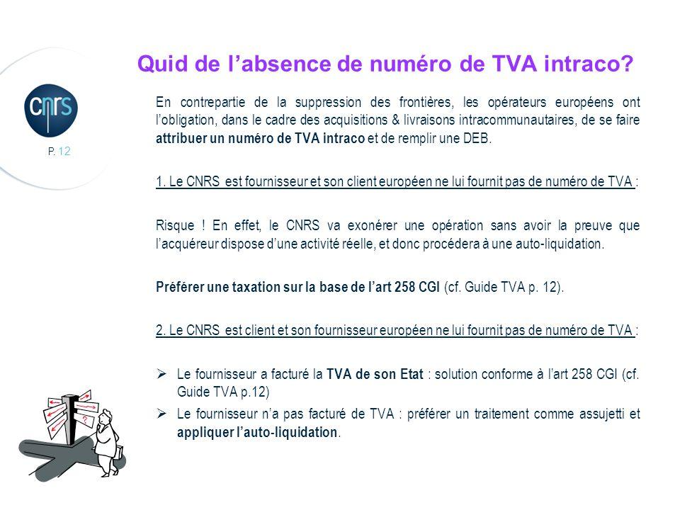 P. 12 Quid de labsence de numéro de TVA intraco? En contrepartie de la suppression des frontières, les opérateurs européens ont lobligation, dans le c