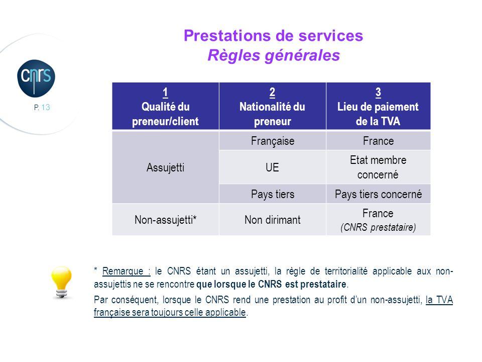 P. 13 Prestations de services Règles générales * Remarque : le CNRS étant un assujetti, la règle de territorialité applicable aux non- assujettis ne s