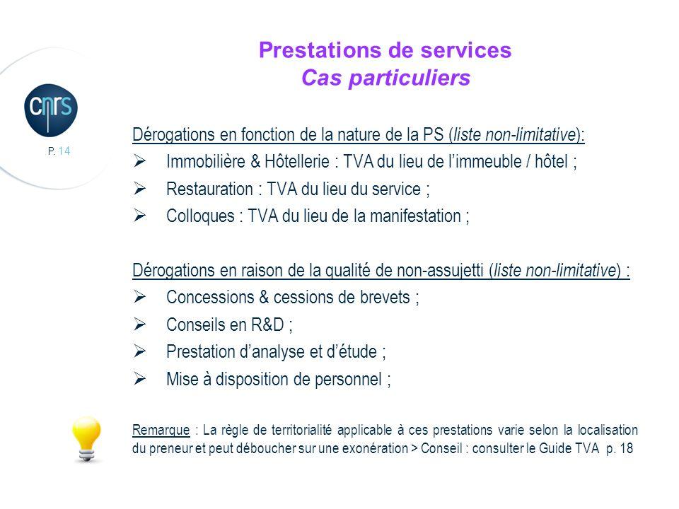 P. 14 Prestations de services Cas particuliers Dérogations en fonction de la nature de la PS ( liste non-limitative ): Immobilière & Hôtellerie : TVA