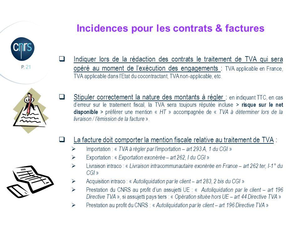 P. 21 Incidences pour les contrats & factures Indiquer lors de la rédaction des contrats le traitement de TVA qui sera opéré au moment de lexécution d