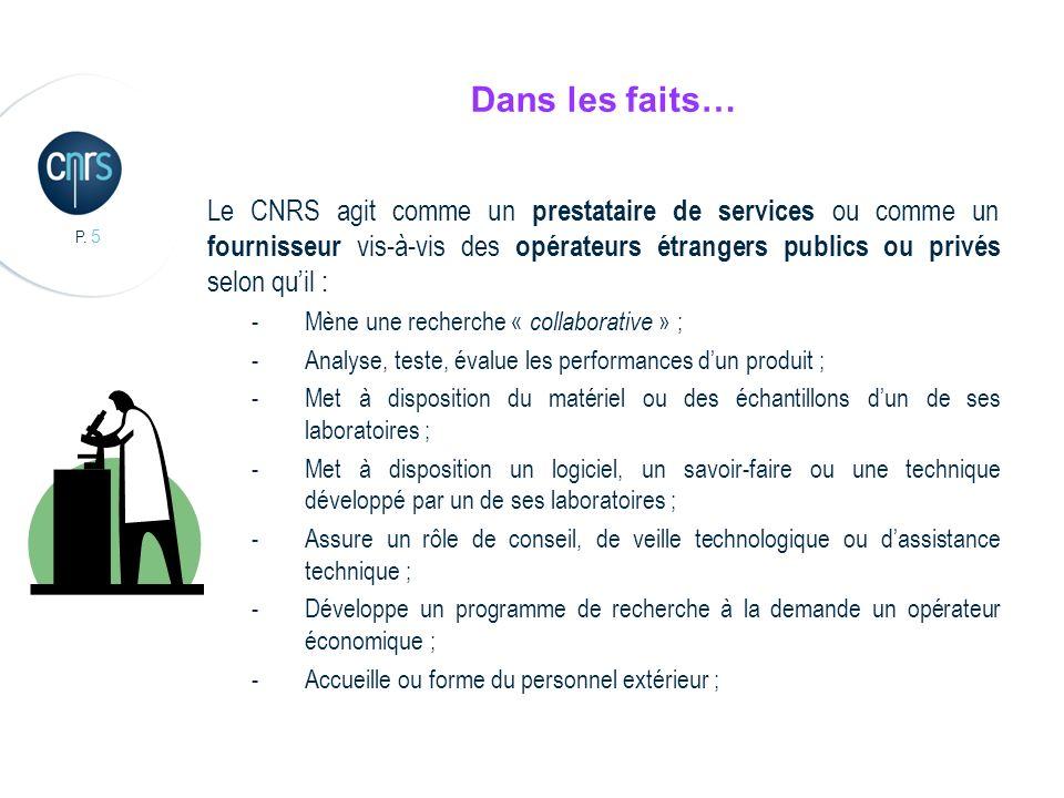 P. 5 Dans les faits… Le CNRS agit comme un prestataire de services ou comme un fournisseur vis-à-vis des opérateurs étrangers publics ou privés selon