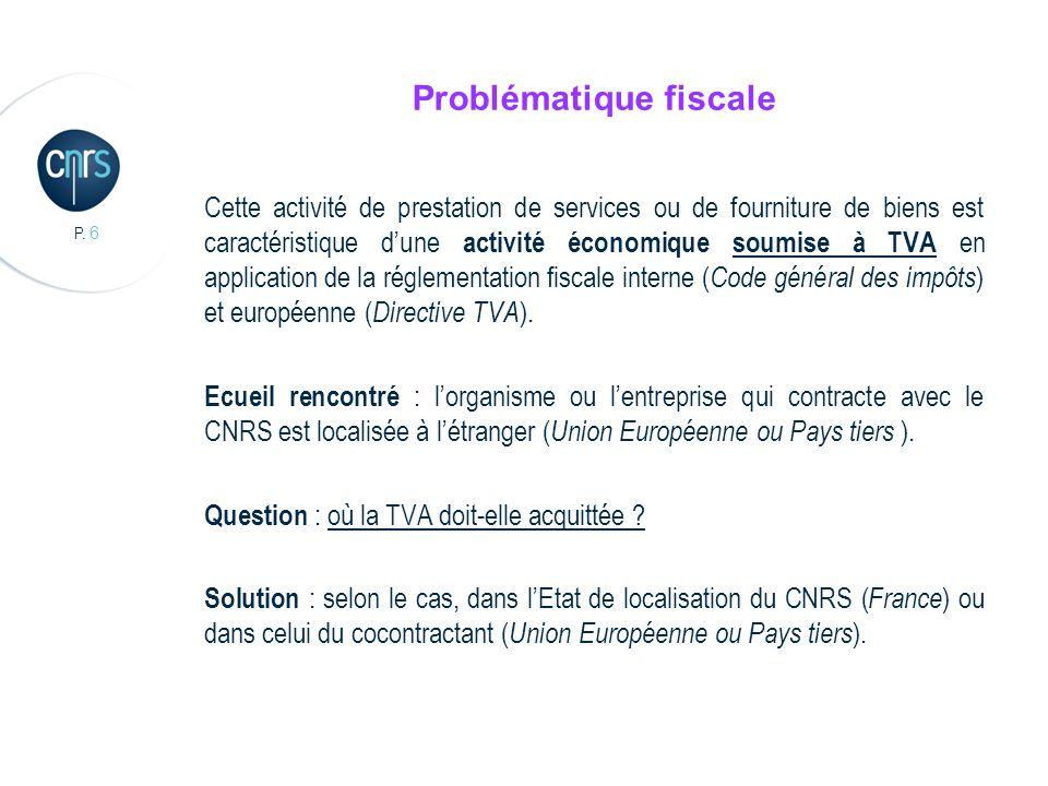 P. 6 Problématique fiscale Cette activité de prestation de services ou de fourniture de biens est caractéristique dune activité économique soumise à T