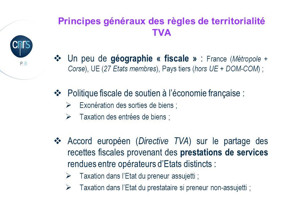 P. 8 Principes généraux des règles de territorialité TVA Un peu de géographie « fiscale » : France ( Métropole + Corse ), UE ( 27 Etats membres ), Pay