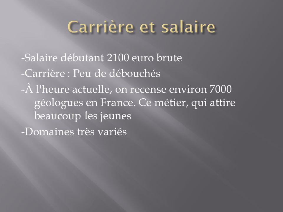 -Salaire débutant 2100 euro brute -Carrière : Peu de débouchés -À l heure actuelle, on recense environ 7000 géologues en France.