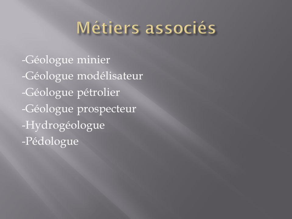 -Géologue minier -Géologue modélisateur -Géologue pétrolier -Géologue prospecteur -Hydrogéologue -Pédologue