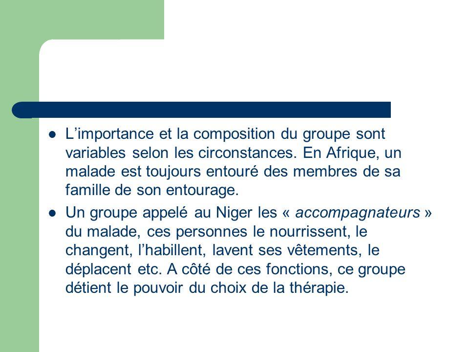Les fonctions du GOT (1) Limportance et la composition du groupe sont variables selon les circonstances. En Afrique, un malade est toujours entouré de