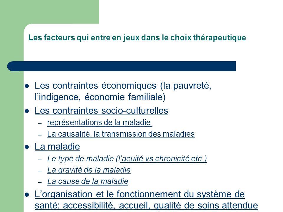Les facteurs qui entre en jeux dans le choix thérapeutique Les contraintes économiques (la pauvreté, lindigence, économie familiale) Les contraintes s