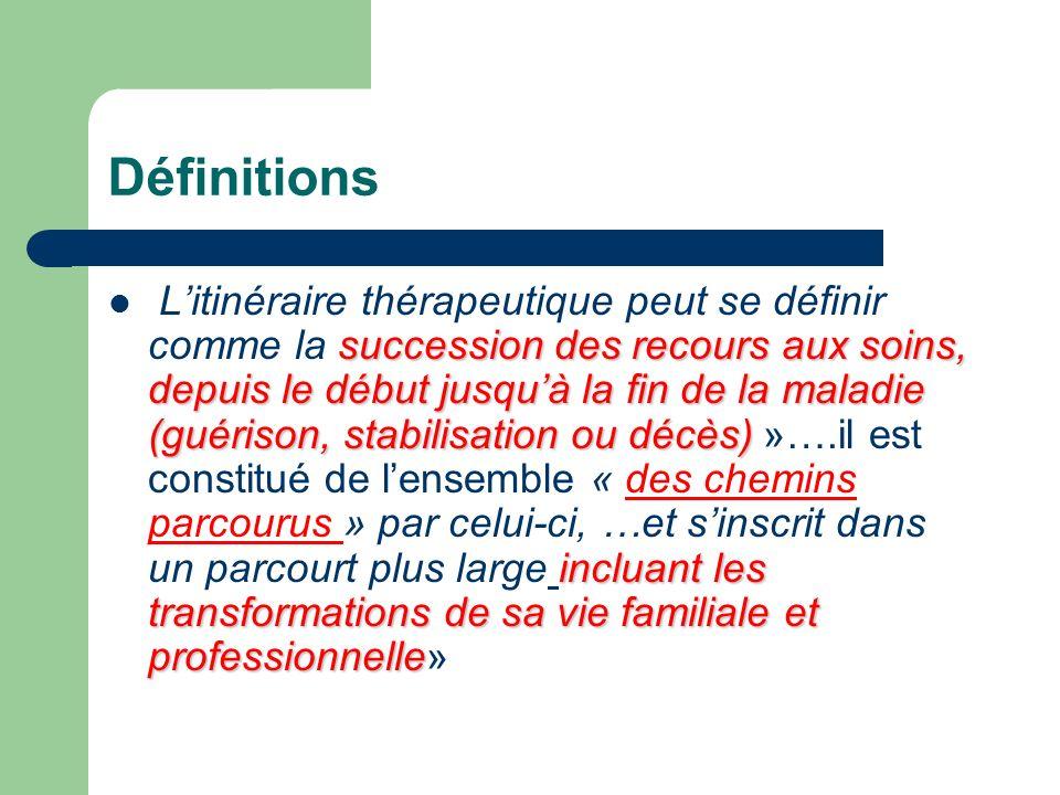 Définitions succession des recours aux soins, depuis le début jusquà la fin de la maladie (guérison, stabilisation ou décès) incluant les transformati