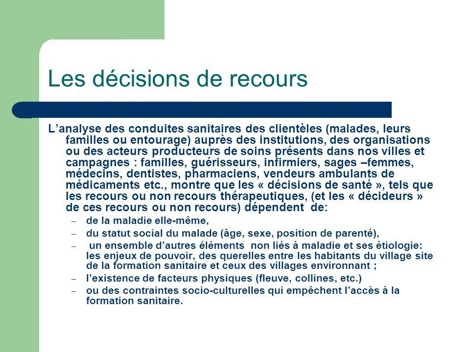 Les décisions de recours Lanalyse des conduites sanitaires des clientèles (malades, leurs familles ou entourage) auprès des institutions, des organisa
