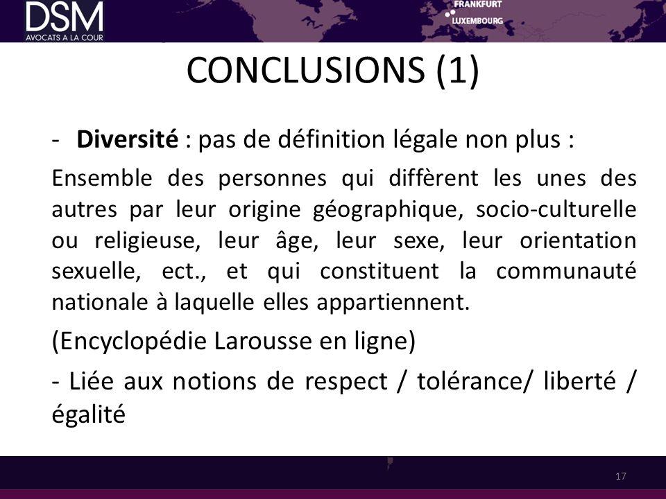CONCLUSIONS (1) -Diversité : pas de définition légale non plus : Ensemble des personnes qui diffèrent les unes des autres par leur origine géographiqu