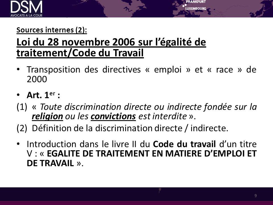 Sources internes (2): Loi du 28 novembre 2006 sur légalité de traitement/Code du Travail Transposition des directives « emploi » et « race » de 2000 A