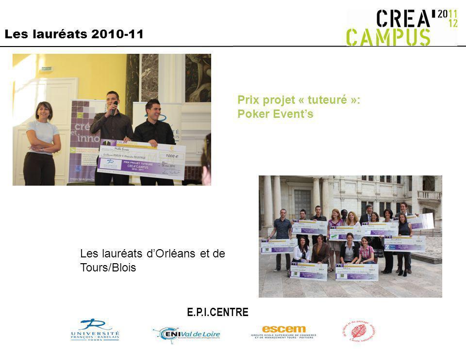 Les lauréats 2010-11 Prix projet « tuteuré »: Poker Events E.P.I.CENTRE Les lauréats dOrléans et de Tours/Blois