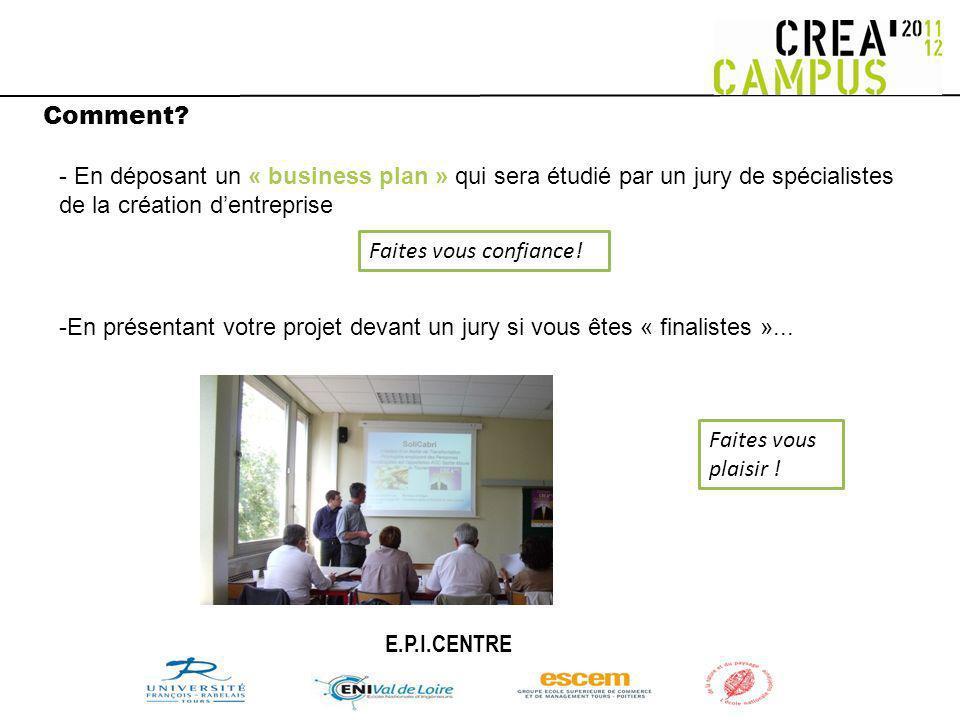 Comment? -En présentant votre projet devant un jury si vous êtes « finalistes »... - En déposant un « business plan » qui sera étudié par un jury de s