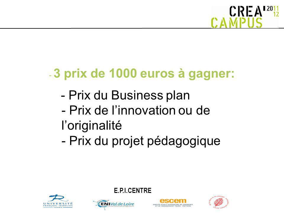 - 3 prix de 1000 euros à gagner: - Prix du Business plan - Prix de linnovation ou de loriginalité - Prix du projet pédagogique E.P.I.CENTRE