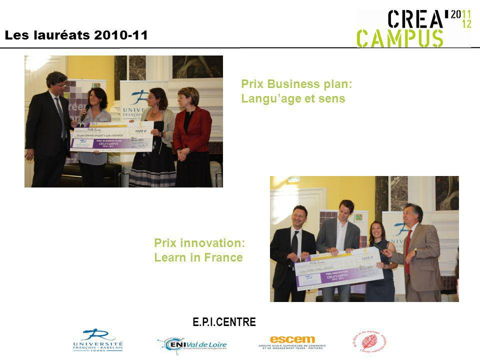 Les lauréats 2010-11 Prix Business plan: Language et sens Prix innovation: Learn in France E.P.I.CENTRE