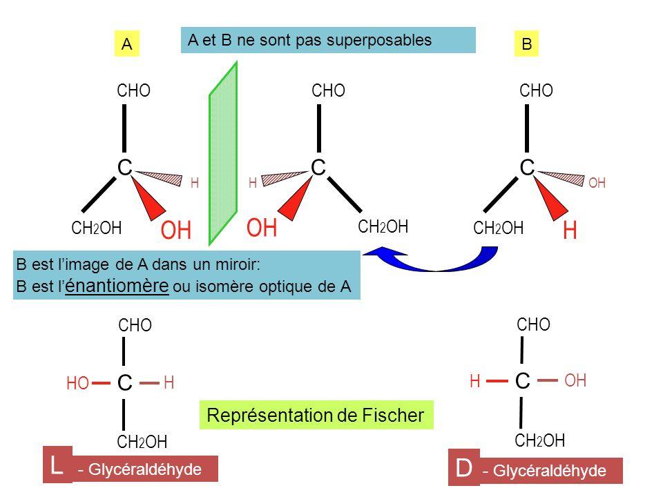 CHO CH 2 OH H C OH Le carbone central est un carbone asymétrique car les 4 substituants sont différents.