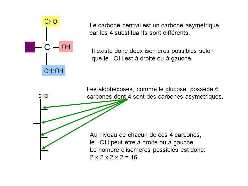 DDDD DDDD LLLL LLLL GLUCOSEGALACTOSEMANNOSE Allose AltroseGuloseIdoseTalose AU TOTAL, IL EXISTE DONC 16 ALDOHEXOSES ISOMERES LES EPIMERES DU D-GLUCOSE