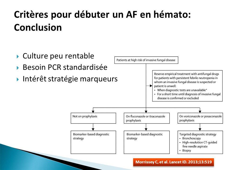Critères pour débuter un AF en hémato: Conclusion Culture peu rentable Besoin PCR standardisée Intérêt stratégie marqueurs Morrissey C, et al. Lancet