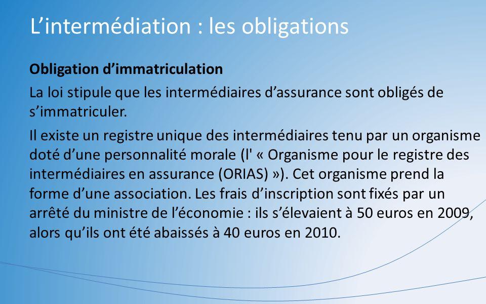 Lintermédiation : les obligations Obligation dimmatriculation La loi stipule que les intermédiaires dassurance sont obligés de simmatriculer. Il exist