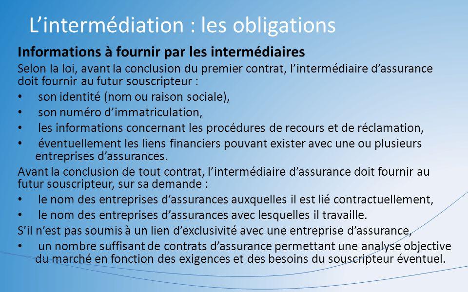 Lintermédiation : les obligations Informations à fournir par les intermédiaires Selon la loi, avant la conclusion du premier contrat, lintermédiaire d