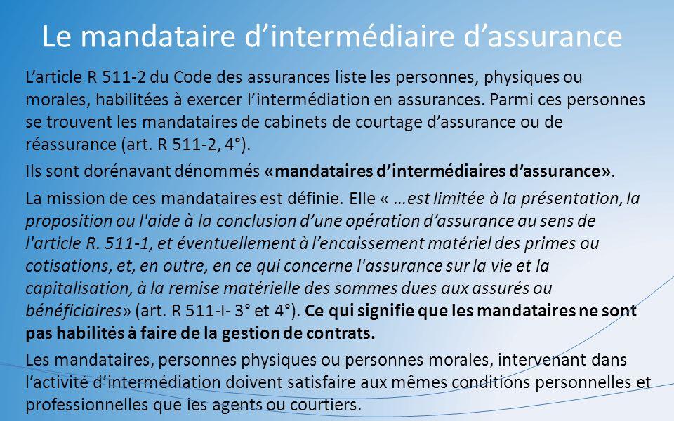 Le mandataire dintermédiaire dassurance Larticle R 511-2 du Code des assurances liste les personnes, physiques ou morales, habilitées à exercer linter