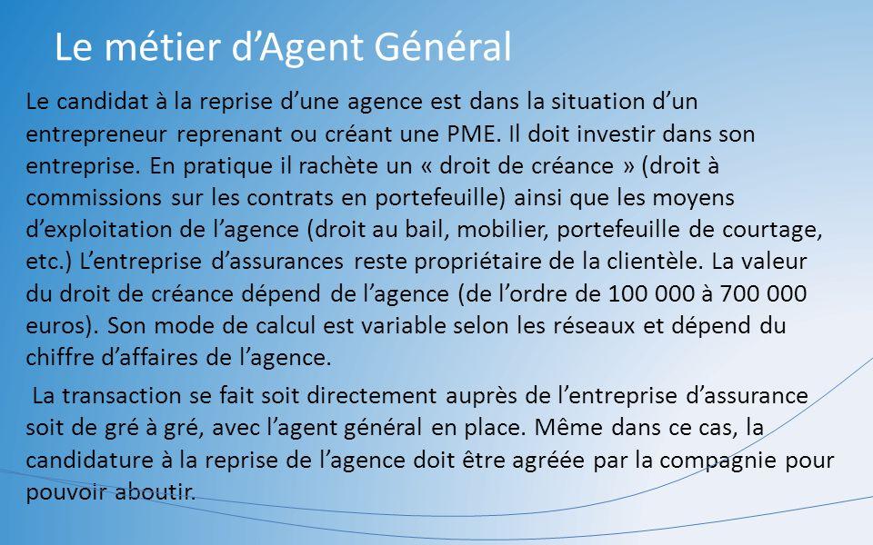 Le métier dAgent Général Le candidat à la reprise dune agence est dans la situation dun entrepreneur reprenant ou créant une PME. Il doit investir dan