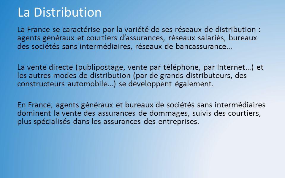 La Distribution La France se caractérise par la variété de ses réseaux de distribution : agents généraux et courtiers dassurances, réseaux salariés, b