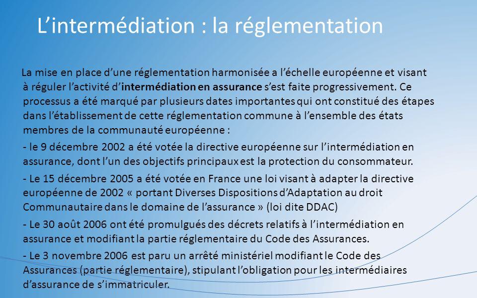 La mise en place dune réglementation harmonisée a léchelle européenne et visant à réguler lactivité dintermédiation en assurance sest faite progressiv