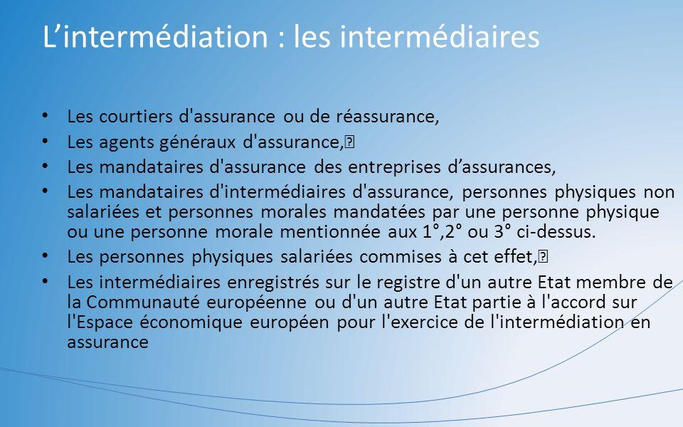 Lintermédiation : les intermédiaires Les courtiers d'assurance ou de réassurance, Les agents généraux d'assurance, Les mandataires d'assurance des ent
