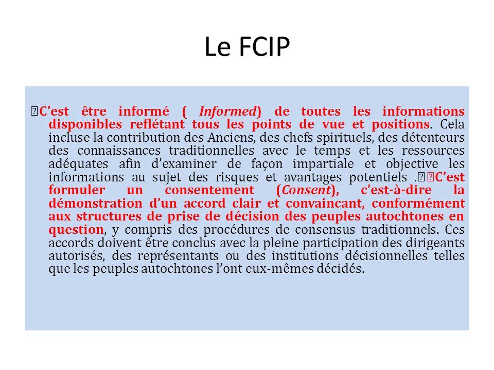 Le FCIP Cest être informé ( Informed) de toutes les informations disponibles reflétant tous les points de vue et positions. Cela incluse la contributi