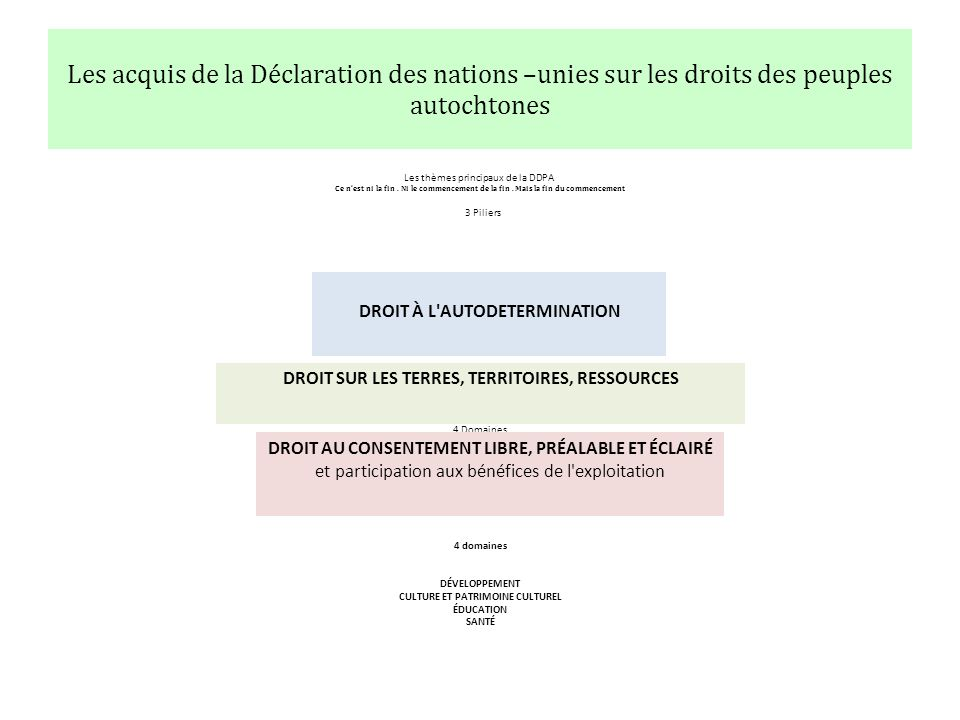 Les acquis de la Déclaration des nations –unies sur les droits des peuples autochtones Les thèmes principaux de la DDPA Ce nest ni la fin.