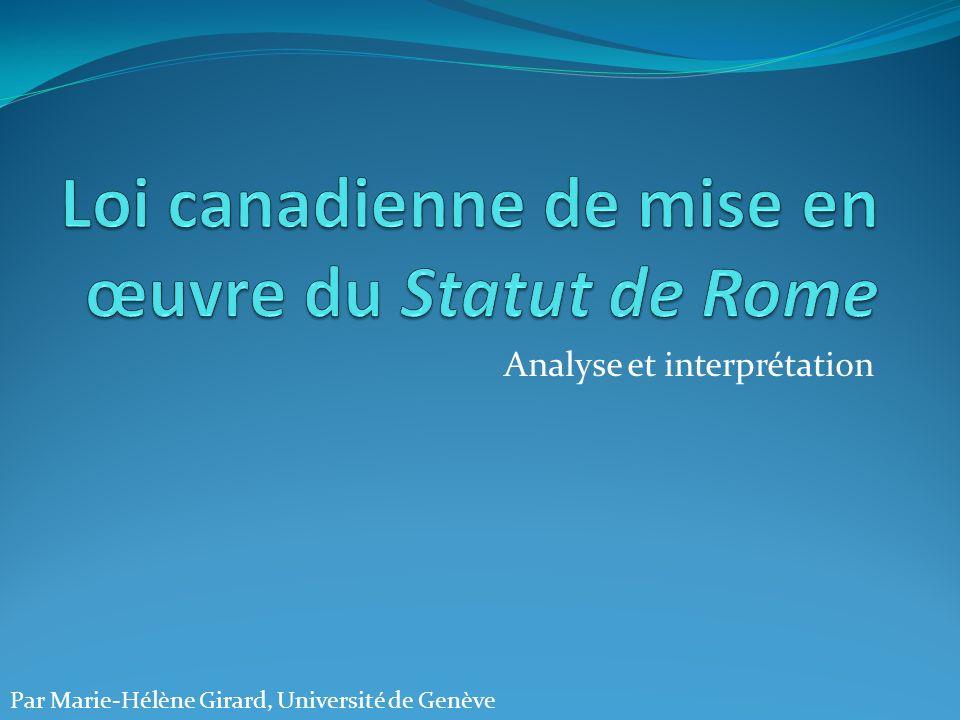 Analyse et interprétation Par Marie-Hélène Girard, Université de Genève