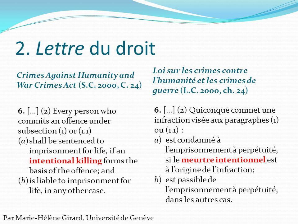 2.Lettre du droit Code criminel (L.R.C., 1985, ch.
