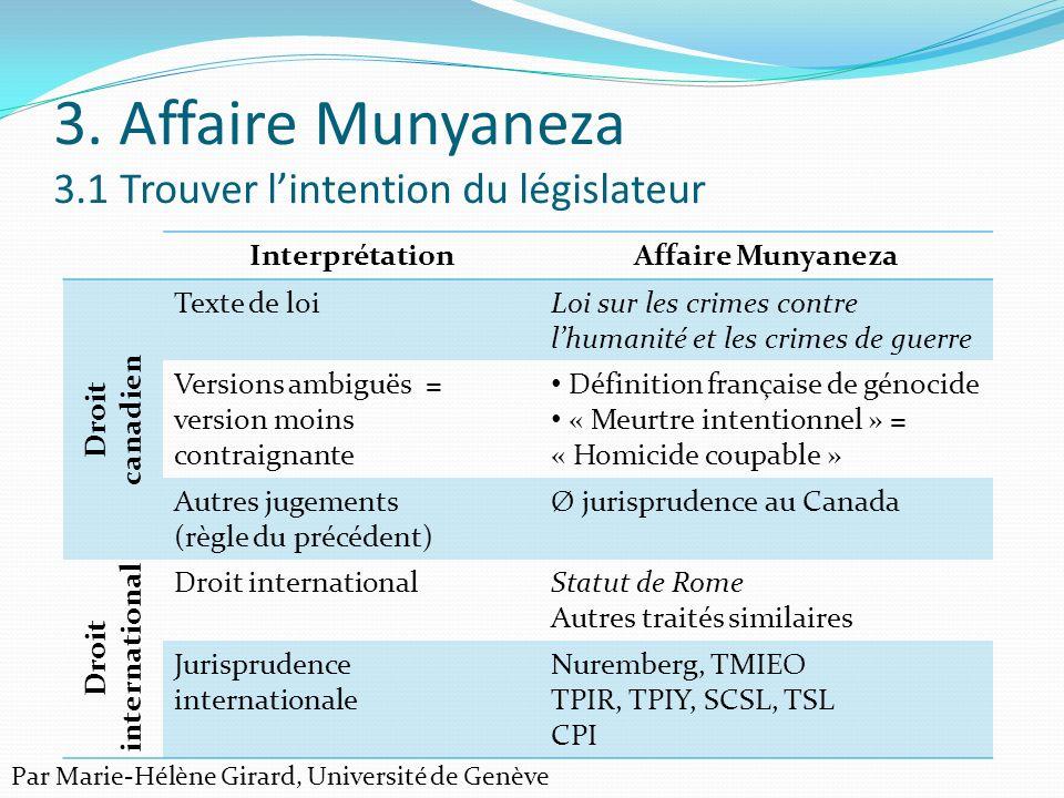 3. Affaire Munyaneza 3.1 Trouver lintention du législateur InterprétationAffaire Munyaneza Droit canadien Texte de loiLoi sur les crimes contre lhuman