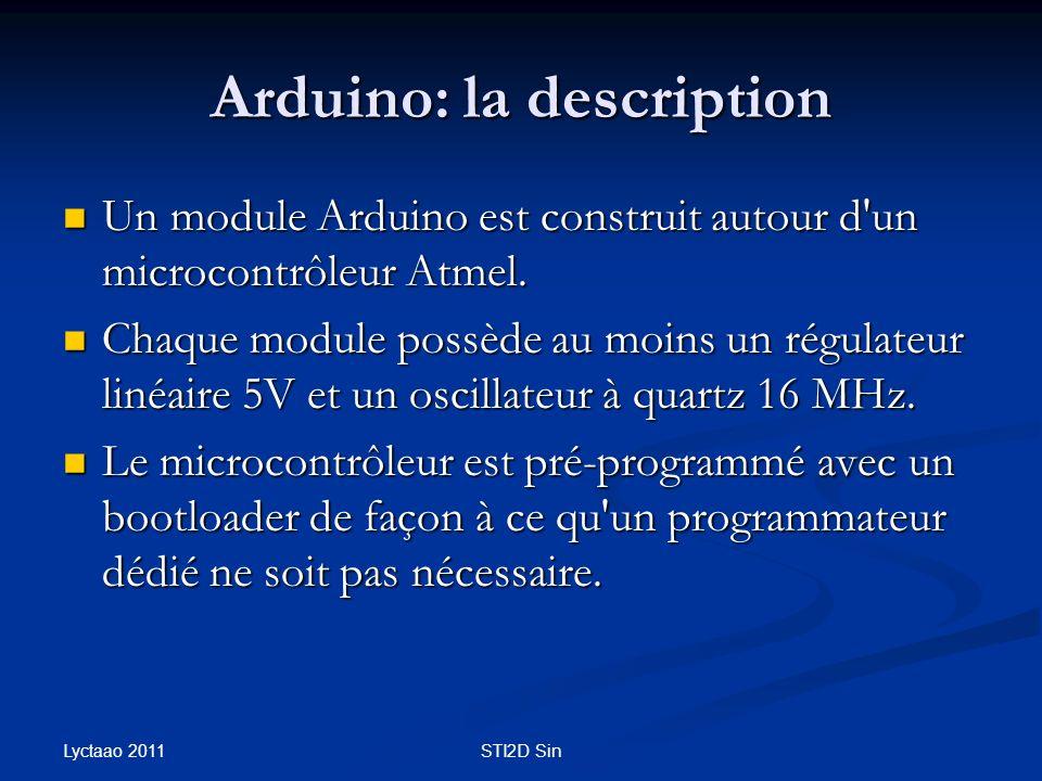 Arduino: la description Un module Arduino est construit autour d'un microcontrôleur Atmel. Un module Arduino est construit autour d'un microcontrôleur