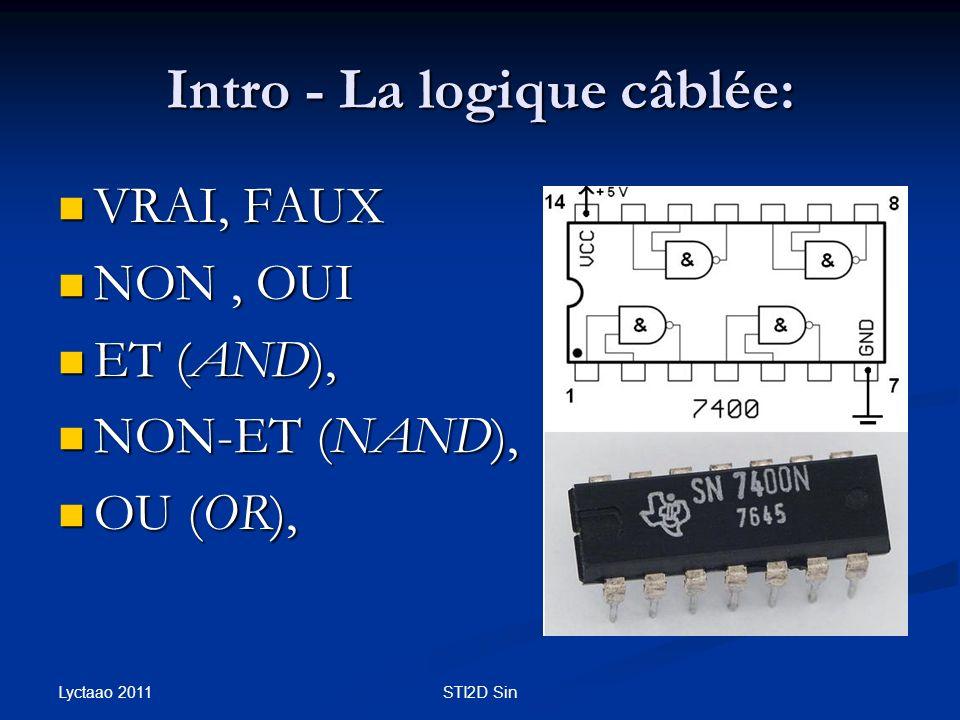 Intro - La logique câblée: VRAI, FAUX VRAI, FAUX NON, OUI NON, OUI ET (AND), ET (AND), NON-ET (NAND), NON-ET (NAND), OU (OR), OU (OR), Lyctaao 2011 ST