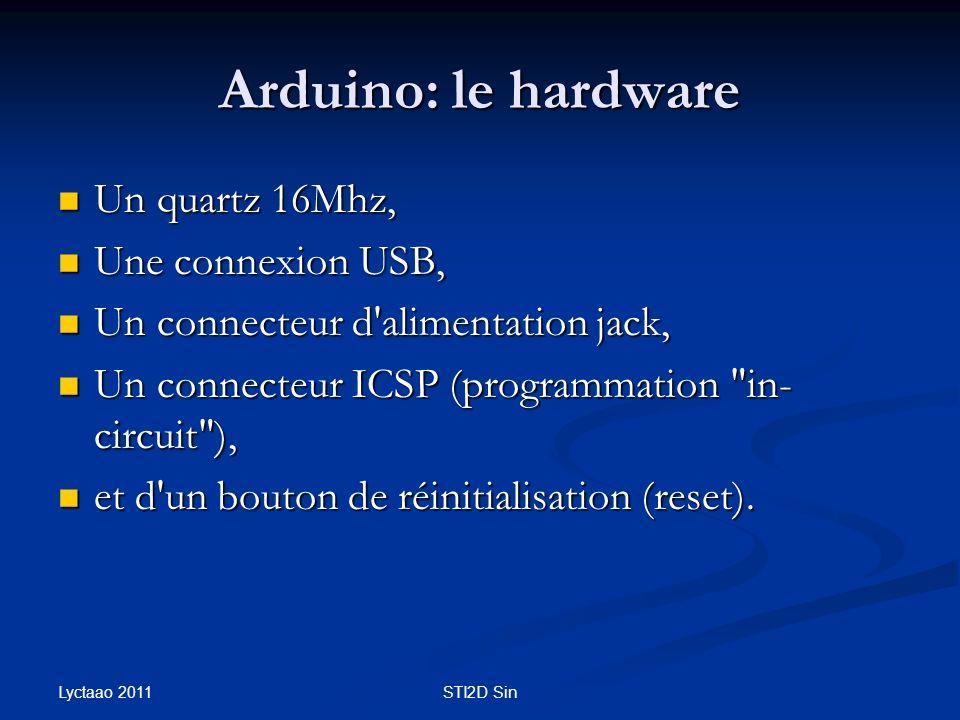 Un quartz 16Mhz, Un quartz 16Mhz, Une connexion USB, Une connexion USB, Un connecteur d'alimentation jack, Un connecteur d'alimentation jack, Un conne