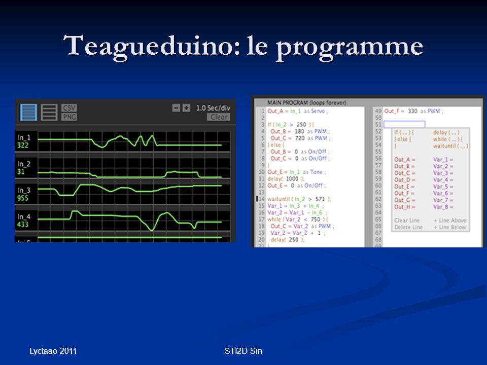 Teagueduino: le programme Lyctaao 2011 STI2D Sin