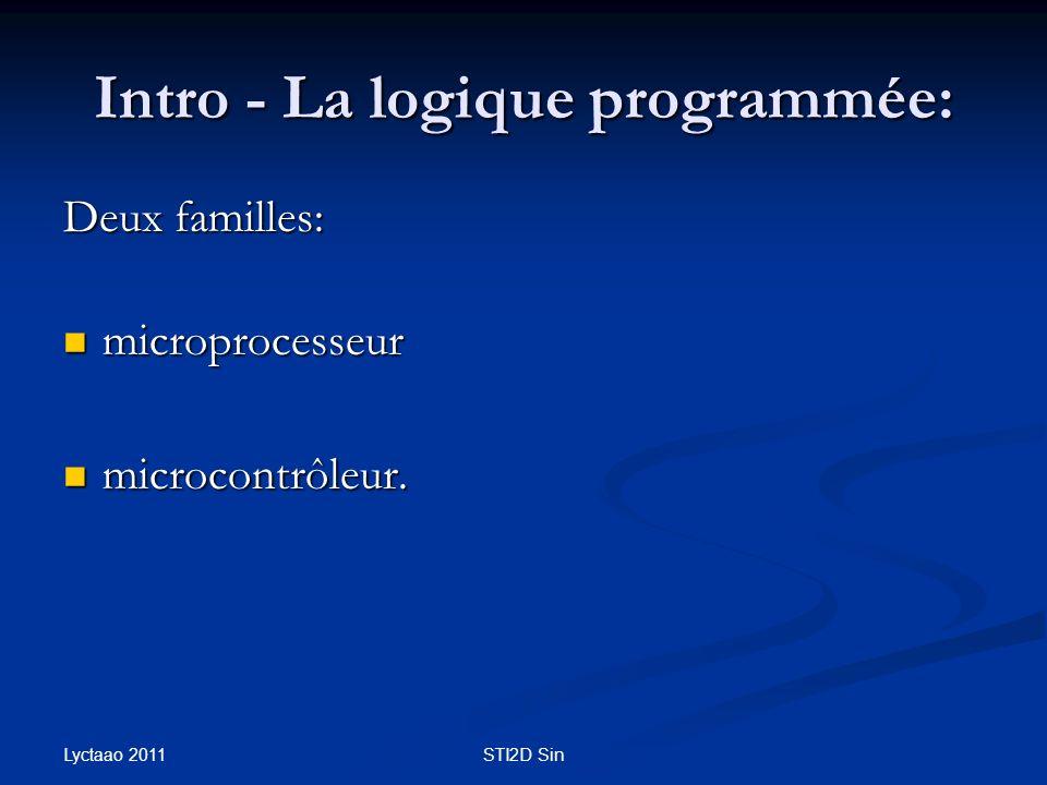 Intro - La logique programmée: Deux familles: microprocesseur microprocesseur microcontrôleur. microcontrôleur. Lyctaao 2011 STI2D Sin