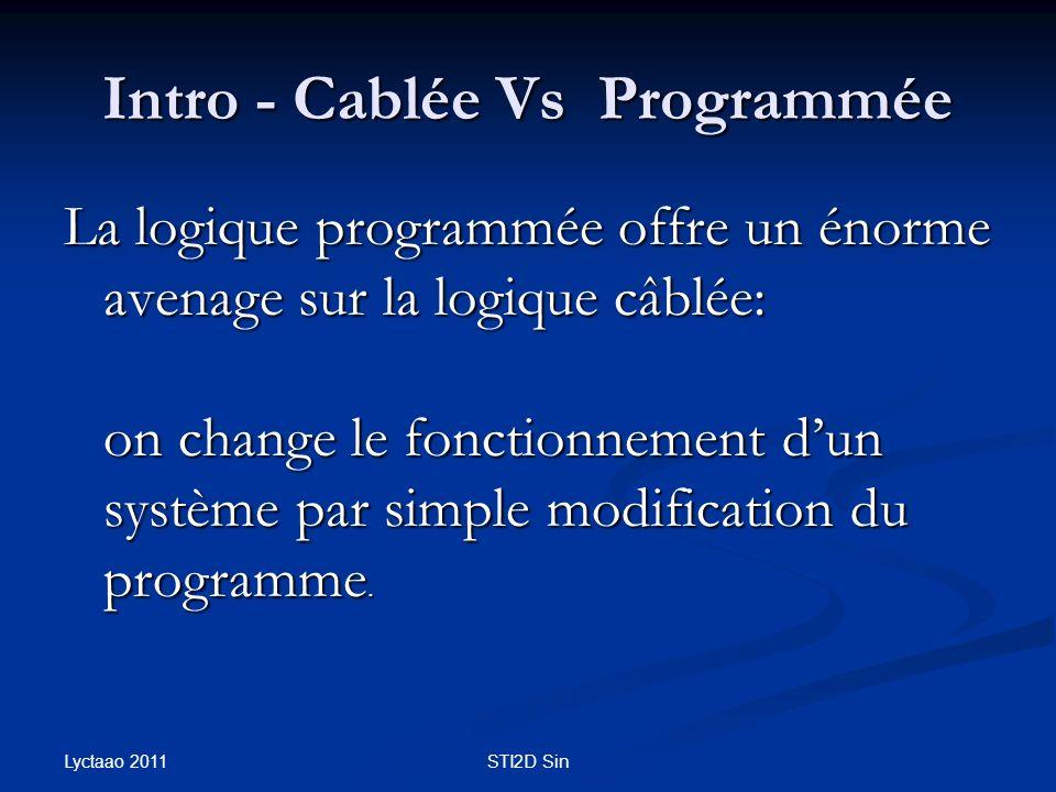 Intro - Cablée Vs Programmée La logique programmée offre un énorme avenage sur la logique câblée: on change le fonctionnement dun système par simple m